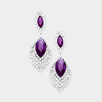 Rhinestone Pave Crystal Oval Detail Evening Earrings