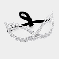 Crystal Rhinestone Pave Cat Eyes Venetian Mask