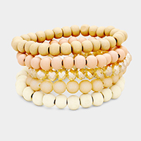 5PCS Wood Faceted Beaded Stretch Bracelets
