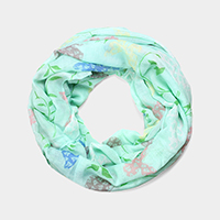 Butterfly Leaf Pattern Print Infinity Scarf