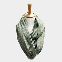 Plaid Check Frayed Edge Infinity Scarf