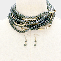 Multi Strand Beaded Metal Tube Choker Necklace