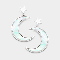 Metal Star Mother of Pearl Moon Dangle Earrings