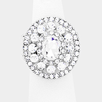 Crystal Oval Centered Bubble Cluster Oval Stretch Ring