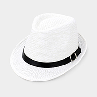 Black Belt Trim Straw Fedora Hat