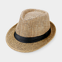 Black Ribbon Trim Straw Fedora Hat