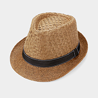 Stitch Ribbon Trim Straw Fedora Hat