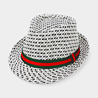 Grosgrain Ribbon Trim Plaid Check Straw Fedora Hat
