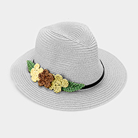 Triple Flower Trim Straw Fedora Hat