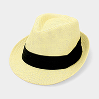 Black Trim Straw Fedora Hat