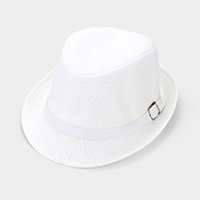 Belt Trim Straw Fedora Hat