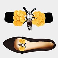 1Pair Honey Bee Patch Stretch Shoe Accessory