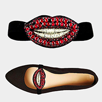 1Pair Stone Embellished Lip Patch Stretch Shoe Accessory