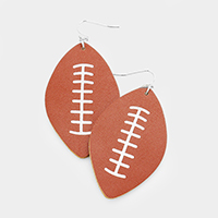 Leather Rugby Ball Dangle Earrings