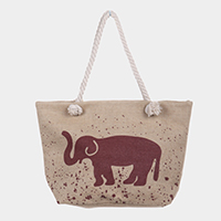 Elephant Print Beach Tote Bag