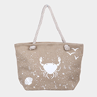 Crab Print Beach Tote Bag