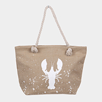 Lobster Print Beach Tote Bag