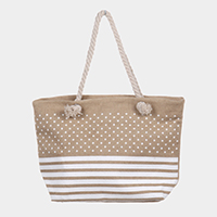 Star Stripe Print Beach Tote Bag