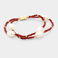 Faceted Beaded Freshwater Pearl Detail Magnetic Bracelet