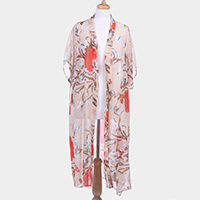 Floral Pattern Print Half Sleeve Open Poncho
