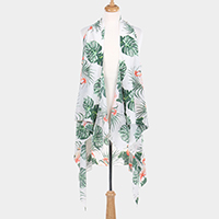 Flamingo Leaf Pattern Print Open Vest