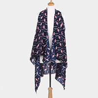 Flamingo Pattern Print Open Vest