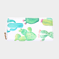 Cactus Pattern Print Zipper Wallet