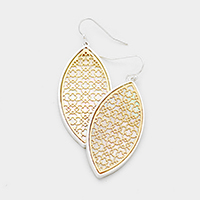 Mother of Pearl Filigree Oval Dangle Earrings