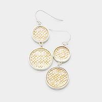 Mother of Pearl Filigree Double Circle Link Earrings