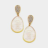 Rhinestone Mother of Pearl Filigree Geo Teardrop Earrings