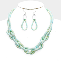 Cord Braided Bib Necklace