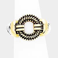 Antique Two Tone Metal Hoop Detail Stretch Ring