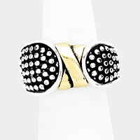 Antique Two Tone Metal Cross Stretch Ring