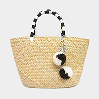 Pom Pom Detail Straw Tote Bag