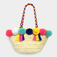 Pom Pom Tassel Detail Braided Thread Handle Straw Tote Bag