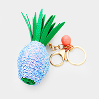 Leather Sequin Pineapple Key Chain