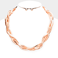 Twisted Metal Chain Collar Necklace