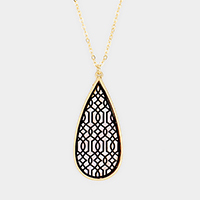Mother of Pearl Filigree Teardrop Pendant Long Necklace