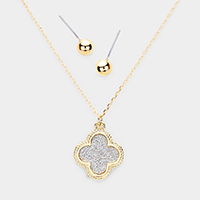 Bling Quatrefoil Clover Pendant Necklace