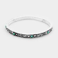 Turquoise Antique Pattern Stretch Bracelet