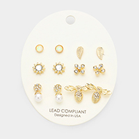 6Pairs Mixed Stone Bee Metal Leaf Stud Earrings