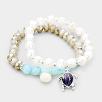 2PCS Freshwater Pearl Abalone Turtle Charm Stretch Bracelet