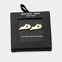 Secret Box _ 14K Gold Dipped Metal Kentucky Stud Earrings