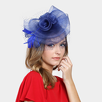 Mesh flower feather net fascinator headband