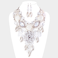 Clear Lucite Pearl Flower Bib Statement Necklace
