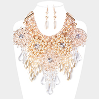 Floral Clear Lucite Pearl Fringe Bib Statement Necklace