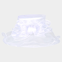 Loop Bow Center Large Brim Ruffle Organza Hat