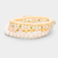 4PCS Faceted Beaded Stretch Bracelets