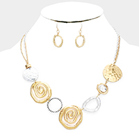 Abstract Swirl Metal Disc Link Bib Necklace