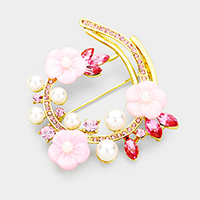 Triple Flower Pave Crystal Rhinestone with Pearl Brooch
